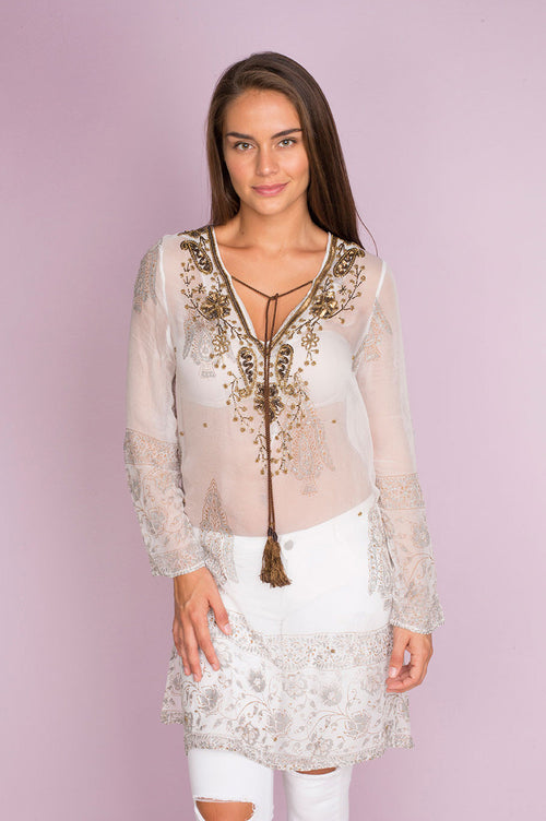 Lola Gorgeous Chiffon Tunic with Block Print Fabric an Intricate Beadwork