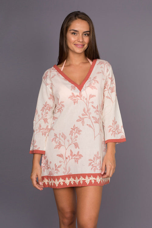 Panorama Red Soft Cotton Tunic with Embroidery