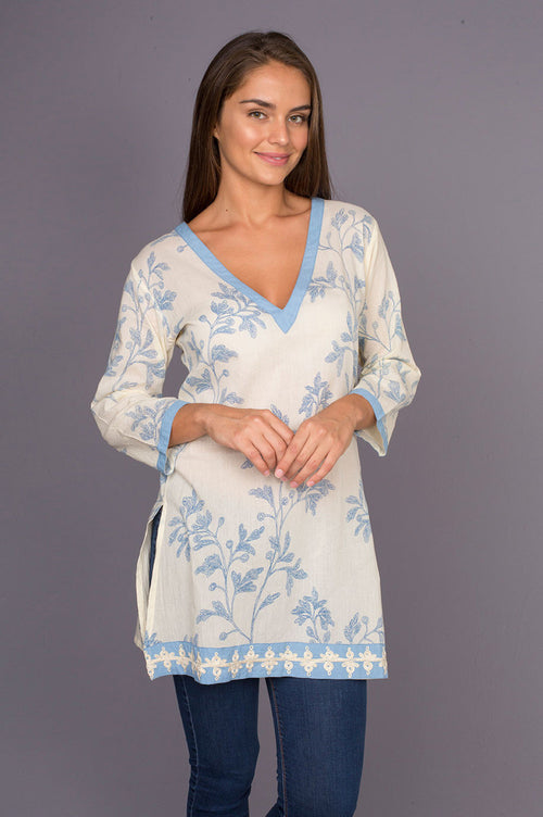 Panorama Blue Soft Cotton Tunic with Embroidery