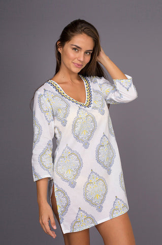 Barbara Chiffon Tie Dye Long Kaftan with Hand Made Embroidery