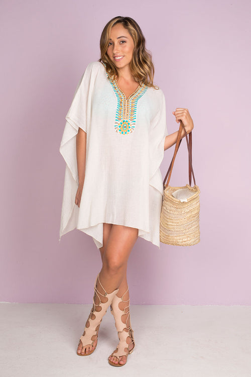 Pou Rustic Creppe Cotton Poncho with Hand Made Embroidery