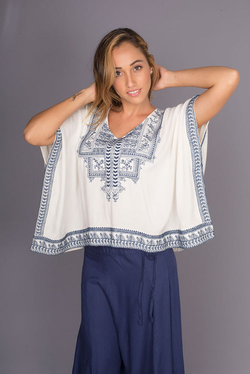 Rahu Poncho with Ethnic Embroidery