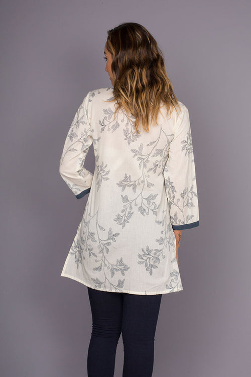 Panorama Navy Soft Cotton Tunic with Embroidery