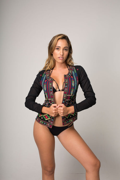 Morroco Black Beach Jacket with Gipsy Chic Embroidered Front