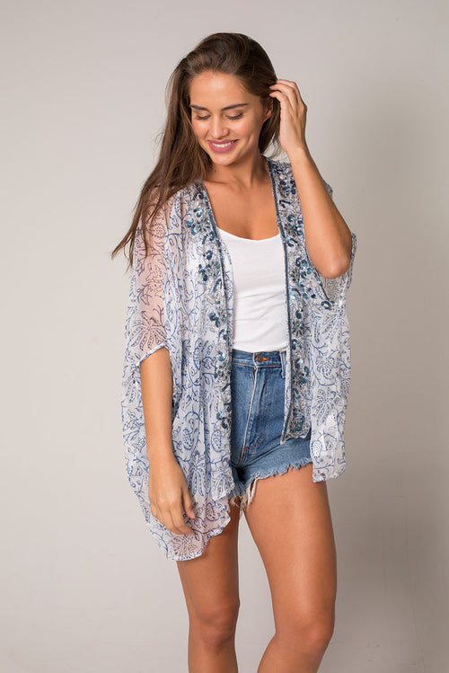 Franela Open Poncho Beach Coverup with Hand Made Embroidery