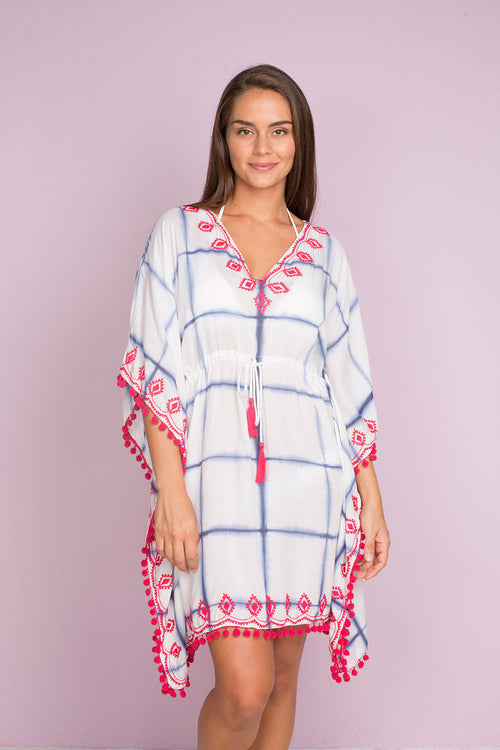Guandule Kaftan with Tie Dye Lines and Delicate Embroidery