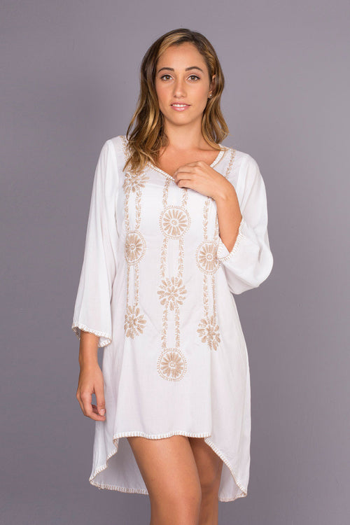 Guarapo Sand Beach Cover up with Hand Made Embroidery