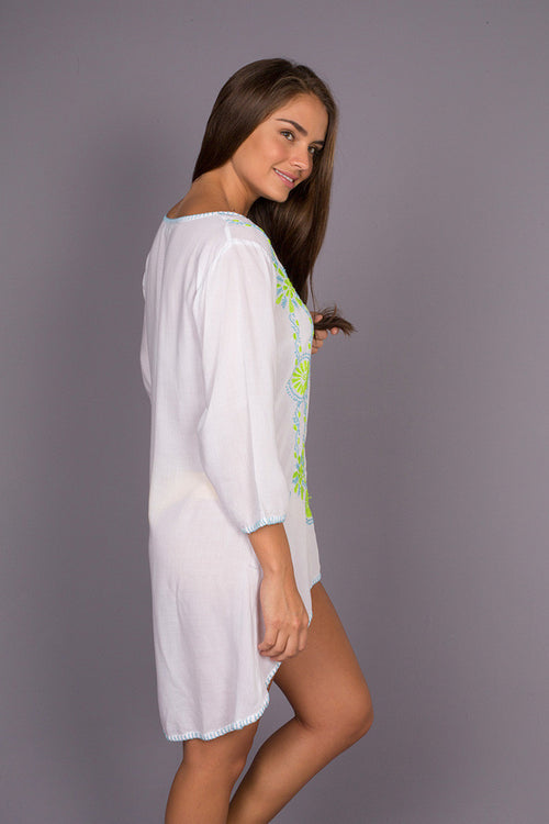 Guarapo Green Beach Cover up with Hand Made Embroidery
