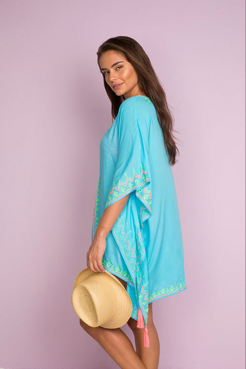 Maca Beach Kaftan with Delicate Embroidery
