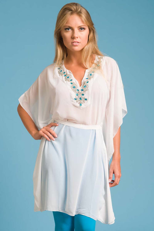 Cristal Kaftan with Beadwork at Neckline - Turquoise