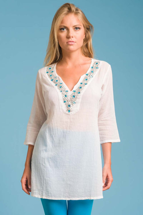 Cristal Tunic with Beadwork in the Neckline - Aqua