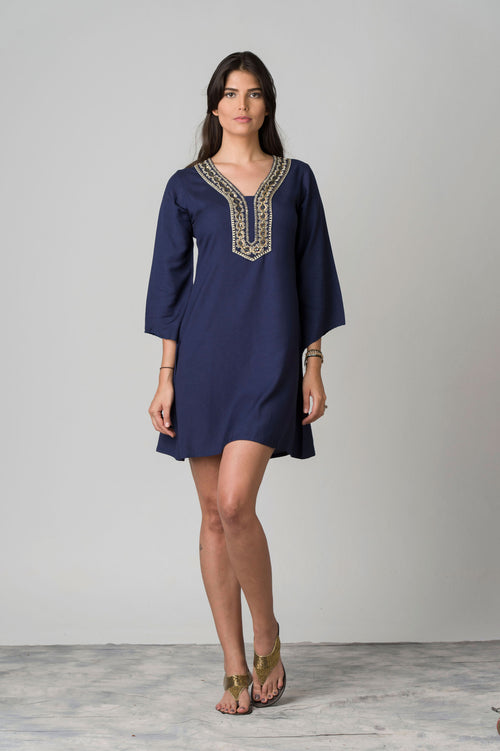 Navy Day Embroidered Neck Beach Tunic
