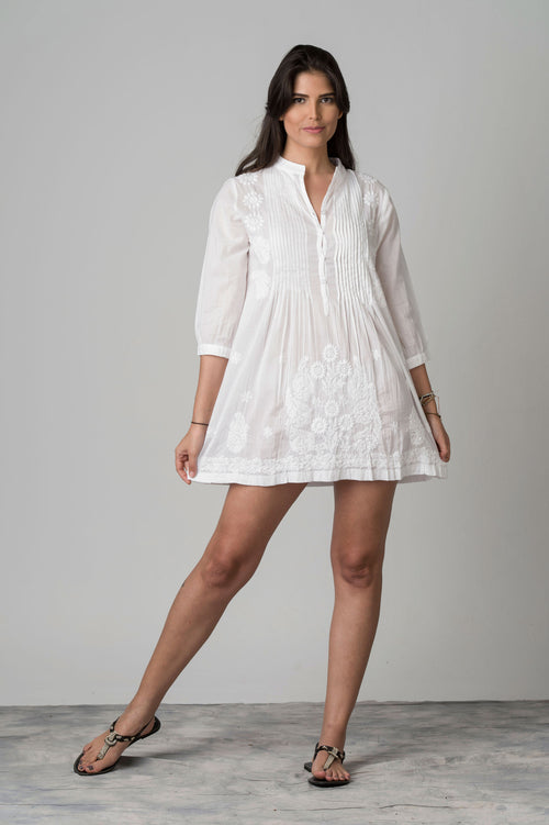 Rishub Embroidered & Creased Top Short Dress