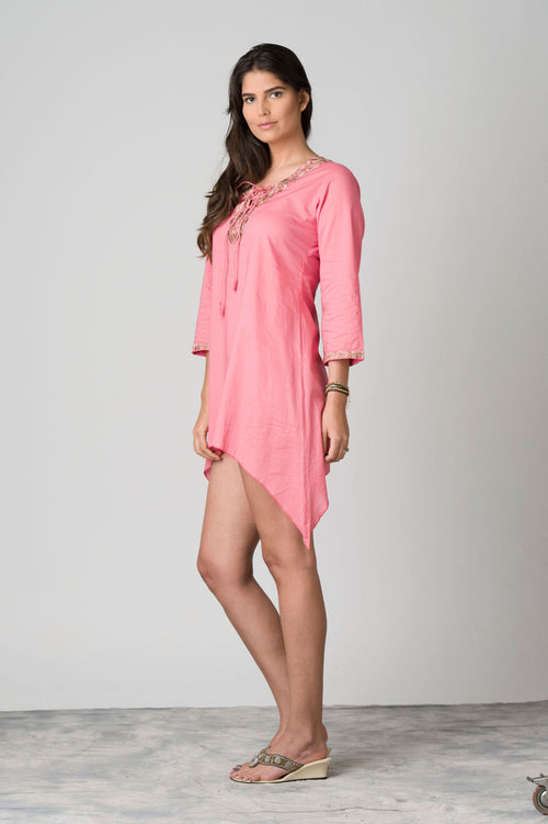 Petalos Lace-up Neck Beach Tunic