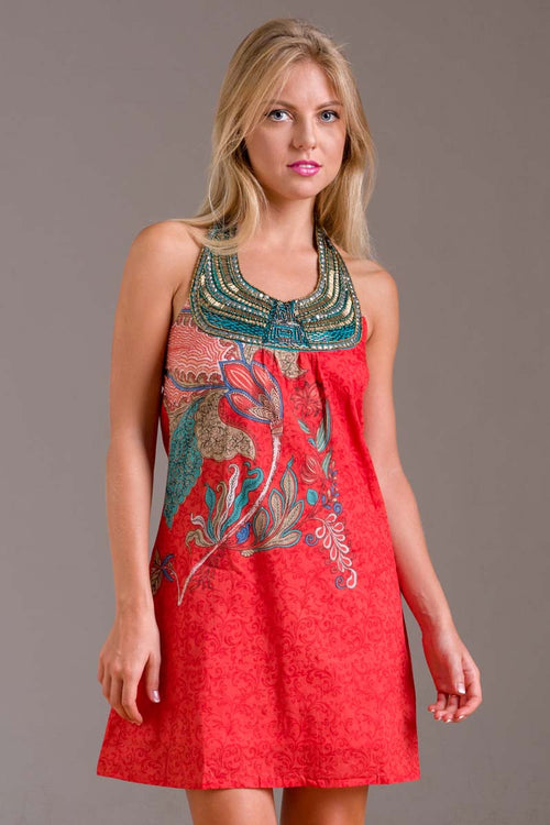 red dress with Bali style neckline