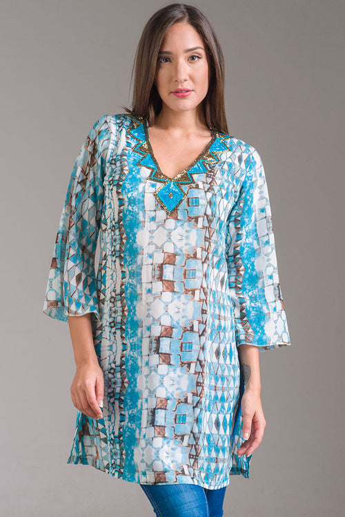 Nahualt Tunic with Beadwork in the Neckline