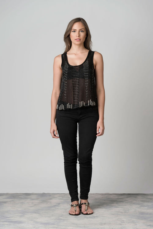 Dark Beaded Semi Translucent Top