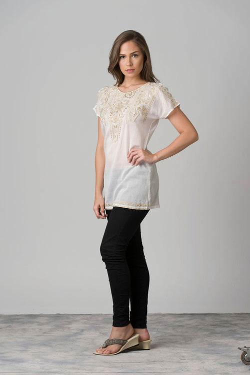 Justine Golden Embroidered Front & Sleeves