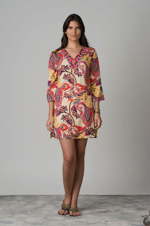 Jaina Embroidered Neck Beach Tunic