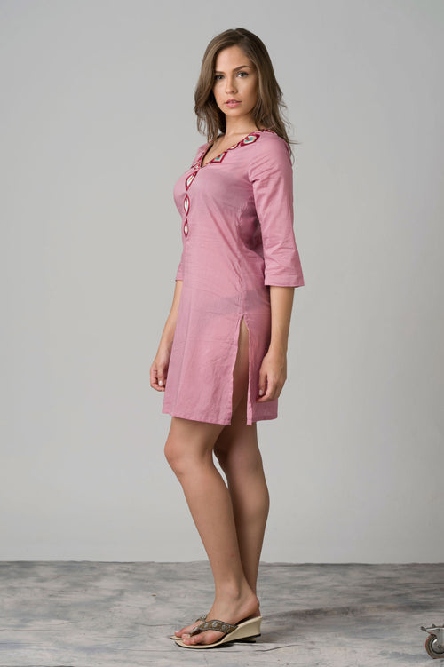 Pagodita Embroidered Neck Beach Tunic