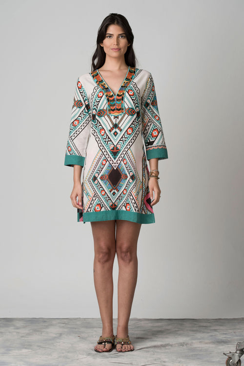 Vietnam Embroidered Neck Beach Tunic