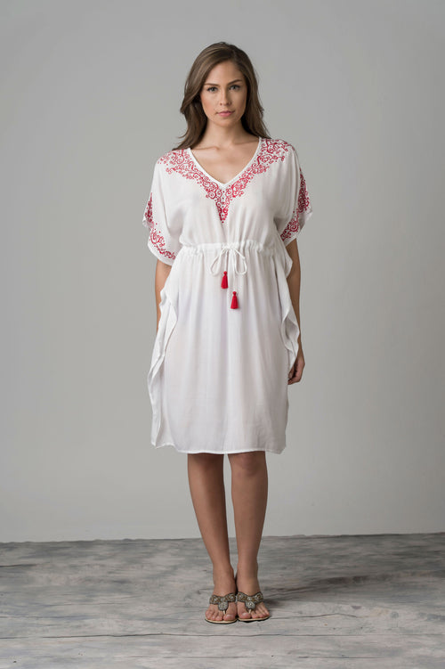 Galadriel Embroidered Neck & Adjustable Waist Beach Tunic