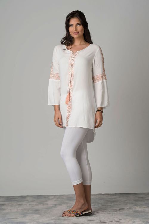 Laos Delicate Embroidered Tunic With Lace-up Neck
