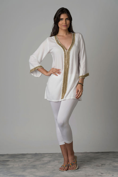 Ximena Tunic With Beaded Neck & Center