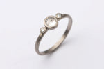 Rose Cut Diamond Three Stone Ring
