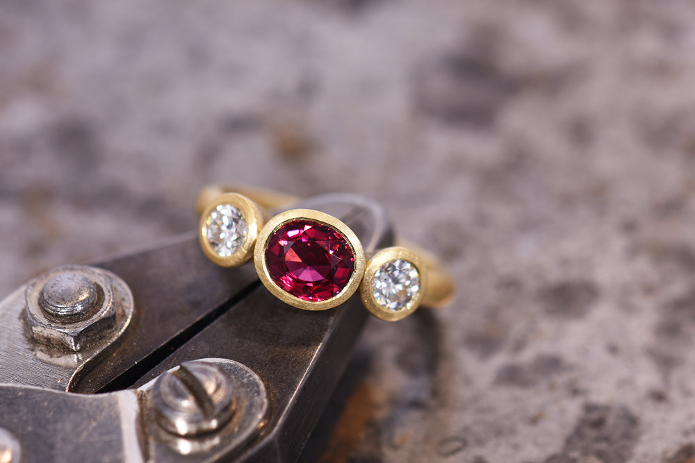 Spinel and Diamond Three Stone Ring