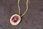 Cats Eye Pink Tourmaline and Diamond Pendant
