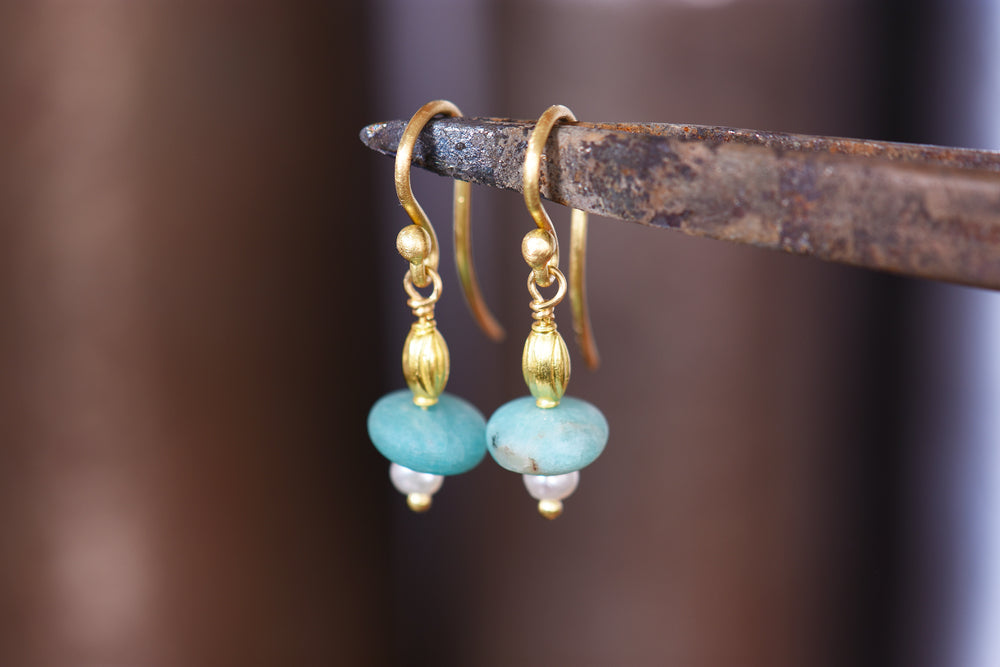 Amazonite and Pearl Frenchwire Earrings