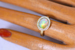 Opal and Diamond 'Halo' Ring