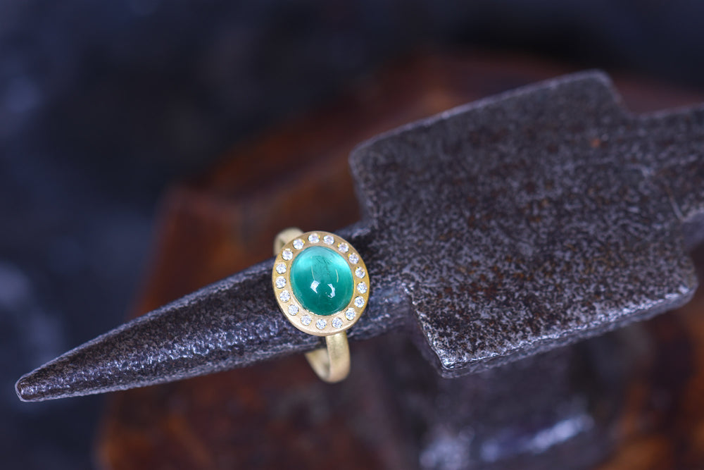 Emerald and Diamond 'Halo' Ring