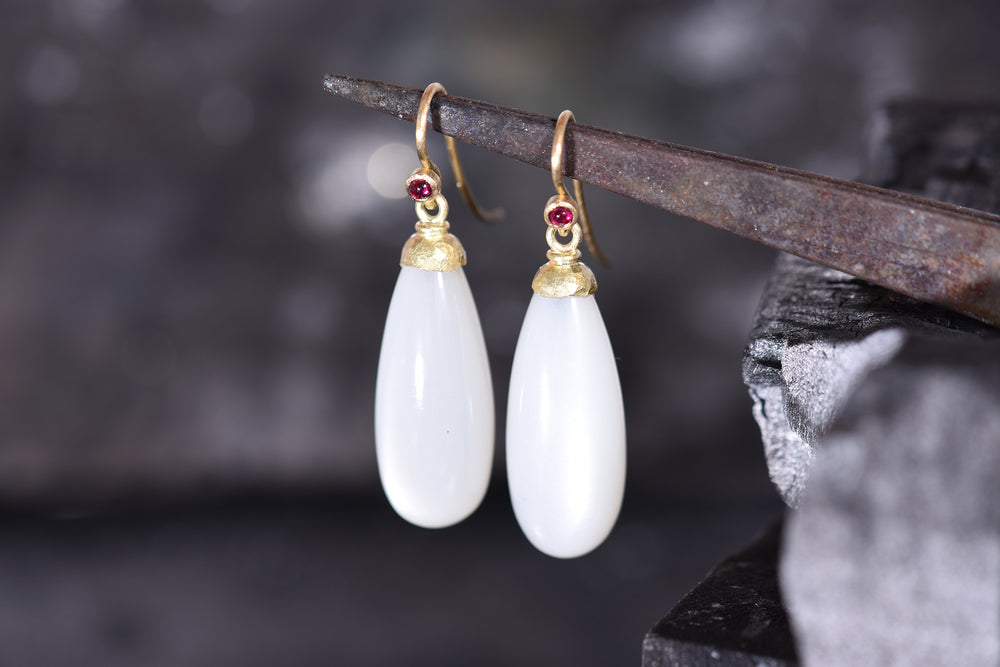 Moonstone and ruby drop earrings.
