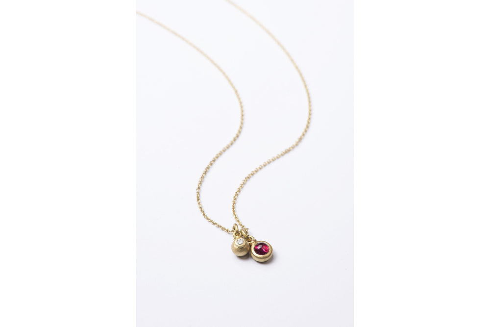 Spinel and Diamond Ball Pendant
