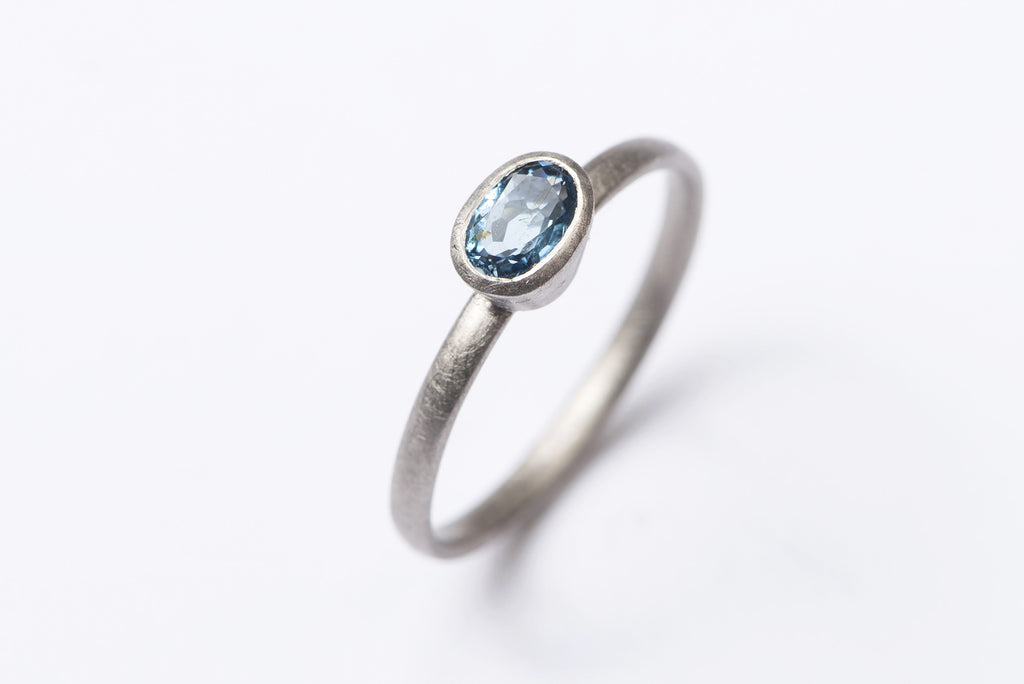 Aquamarine and Palladium Ring
