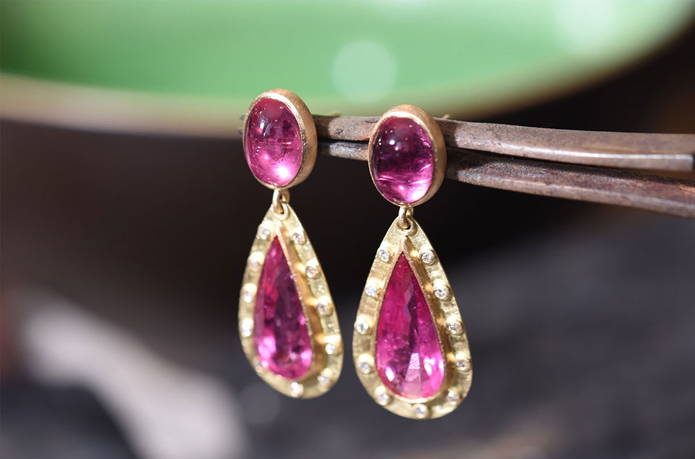Pink tourmaline and diamond, 18ct yellow gold drop earrings.