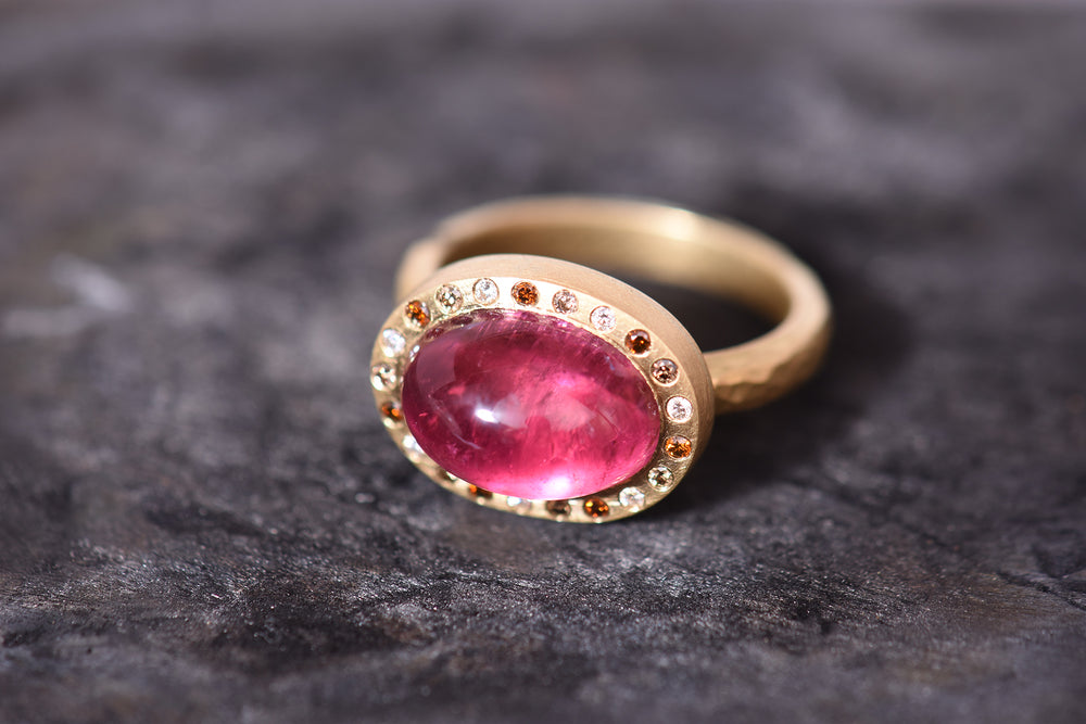 Pink tourmaline 'Halo' ring