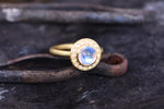 Moonstone and Rosecut Diamond Ring