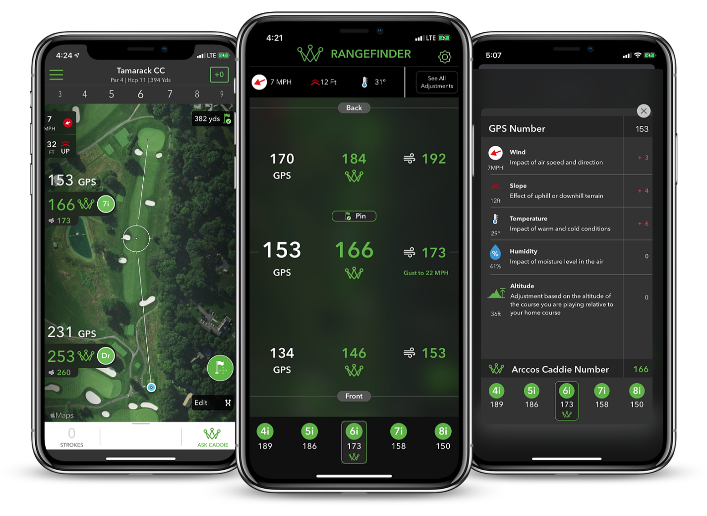 Golf's First AI-Powered GPS Rangefinder - Arccos Caddie Rangefinder Hero Image on iPhone X