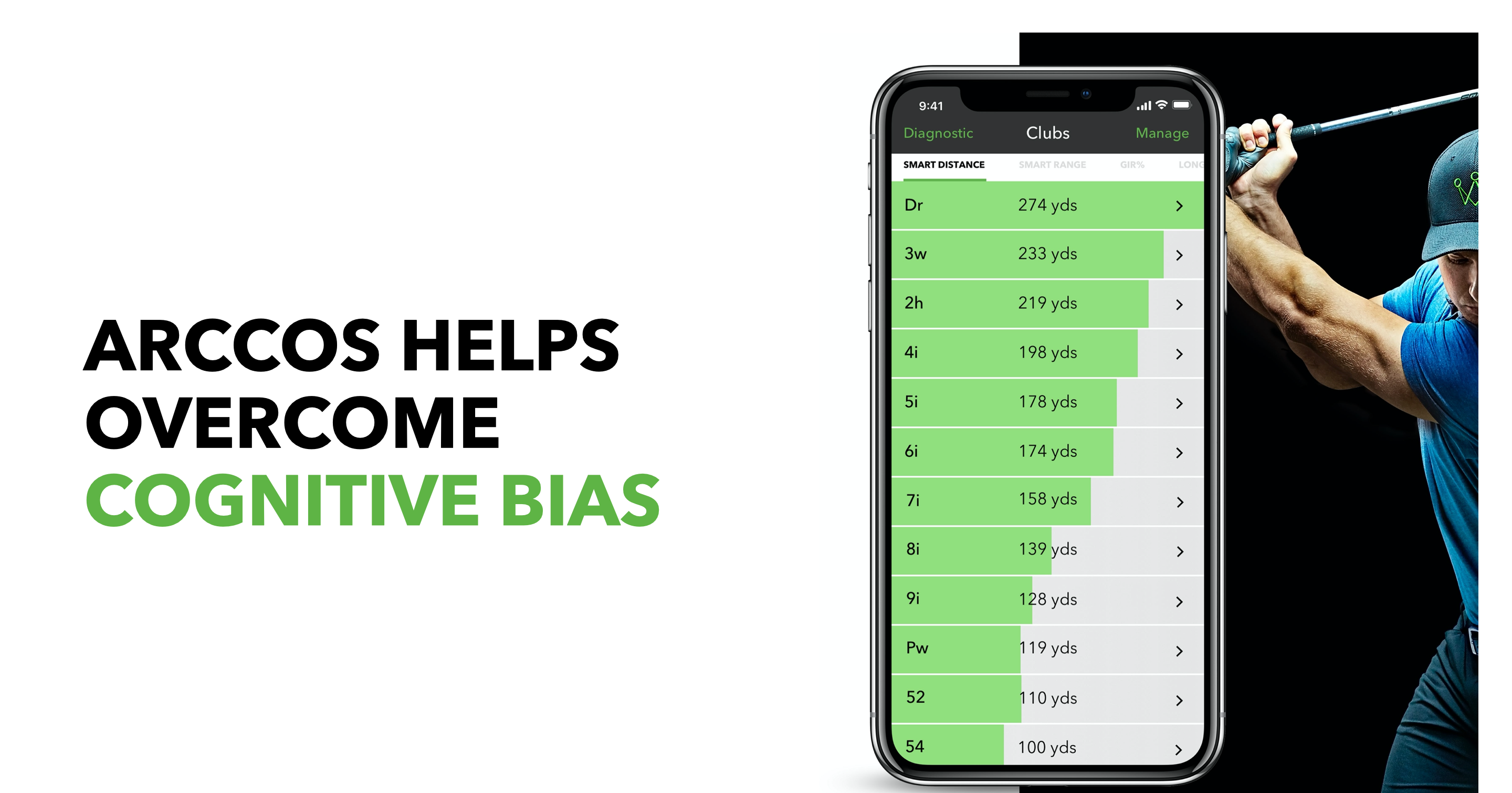 Arccos Caddie Helps To Overcome Cognitive Bias By Telling You How Far You Actually Hit Each Club