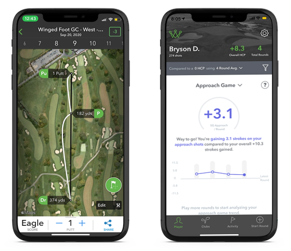 iPhone screens of Bryson DeChambeau's Arccos Strokes Gained Data from US Open 2020