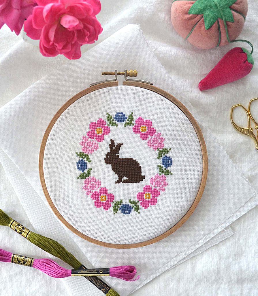 Bunny Bloom Cross Stitch Pattern