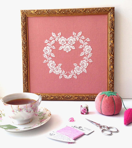 French Rose Heart Cross Stitch Pattern