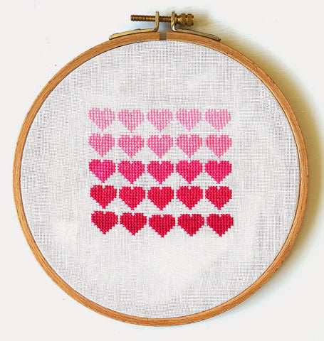 Pink Ombre Hearts ~ Free PDF Cross Stitch Pattern