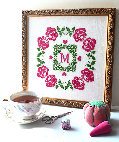Rose Monogram Cross Stitch Pattern