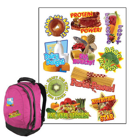 Nutrition Themed Backpack Stickers