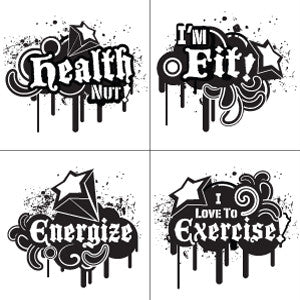 Healthy Sayings Temporary Tattoo Sheet
