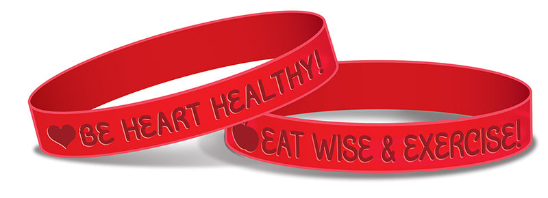 Eat Wise & Exercise!  Be Healthy! Heart Health Wristband